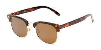 Angle of Nairobi #8387 in Tortoise Frame with Gold Mirrored Lenses, Women's and Men's Browline Sunglasses