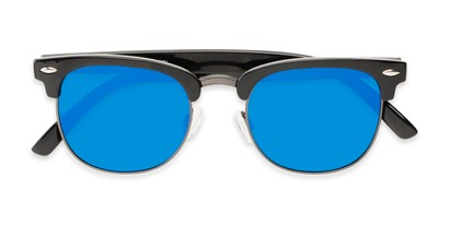Folded of Nairobi #8387 in Black/Grey Frame with Blue Mirrored Lenses