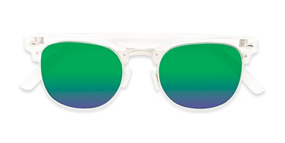 Folded of Nairobi #8387 in Clear/Silver Frame with Blue/Green Mirrored Lenses