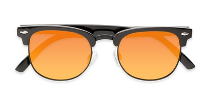 Folded of Nairobi #8387 in Black/Grey Frame with Orange Mirrored Lenses