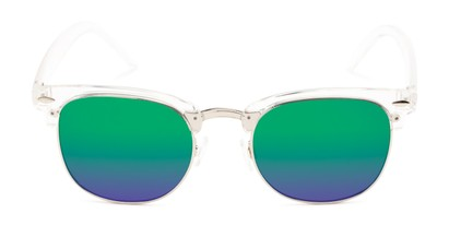 Front of Nairobi #8387 in Clear/Silver Frame with Blue/Green Mirrored Lenses