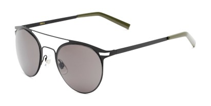 Angle of Nantucket #25014 in Matte Black with Smoke Lenses, Women's and Men's Aviator Sunglasses