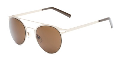 Angle of Nantucket #25014 in Matte Gold with Amber Lenses, Women's and Men's Aviator Sunglasses