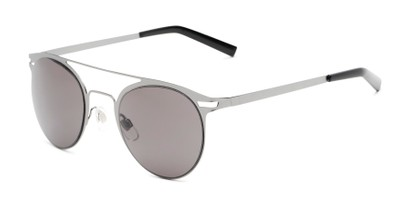 Angle of Nantucket #25014 in Matte Grey with Smoke Lenses, Women's and Men's Aviator Sunglasses