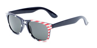 Angle of Nation #9304 in Blue/Side Striped Frame with Grey Lenses, Women's and Men's Retro Square Sunglasses