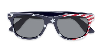 Folded of Nation #9304 in Blue/Side Striped Frame with Grey Lenses