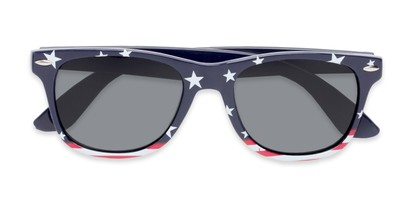 Folded of Nation #9304 in Blue/Bottom Striped Frame with Grey Lenses