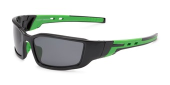Angle of Navarro #2761 in Black/Green Frame with Smoke Lenses, Men's Sport & Wrap-Around Sunglasses