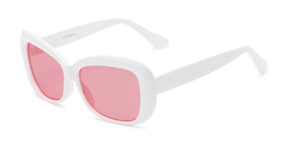 Angle of Nessa #2707 in White Frame with Pink Lenses, Women's Cat Eye Sunglasses