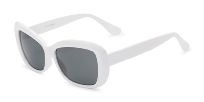 Angle of Nessa #2707 in White Frame with Grey Lenses, Women's Cat Eye Sunglasses