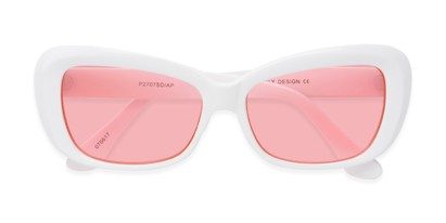 Folded of Nessa #2707 in White Frame with Pink Lenses