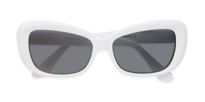 Folded of Nessa #2707 in White Frame with Grey Lenses