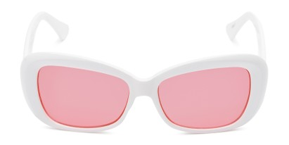 Front of Nessa #2707 in White Frame with Pink Lenses