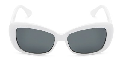 Front of Nessa #2707 in White Frame with Grey Lenses