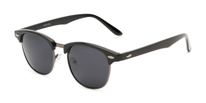 Angle of North Cape #5311 in Black Frame with Smoke Lenses, Women's and Men's Browline Sunglasses