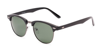 Angle of North Cape #5311 in Black Frame with Green Lenses, Women's and Men's Browline Sunglasses