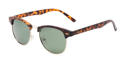 Angle of North Cape #5311 in Matte Tortoise Frame with Green Lenses, Women's and Men's Browline Sunglasses