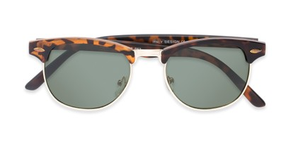 Folded of North Cape #5311 in Matte Tortoise Frame with Green Lenses