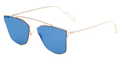 Angle of Octavia #6345 in Gold Frame with Blue Mirrored Lenses, Women's Retro Square Sunglasses