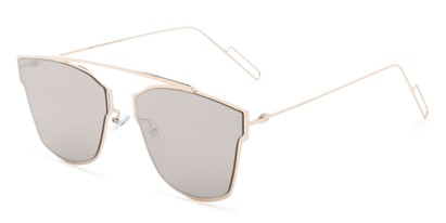 Angle of Octavia #6345 in Gold Frame with Silver Mirrored Lenses, Women's Retro Square Sunglasses