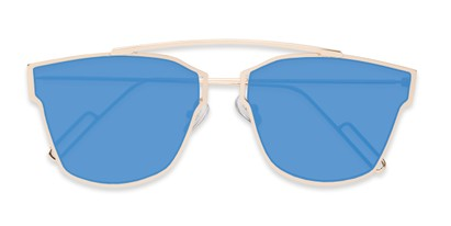 Folded of Octavia #6345 in Gold Frame with Blue Mirrored Lenses