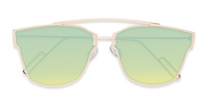 Folded of Octavia #6345 in Gold Frame with Green Mirrored Lenses