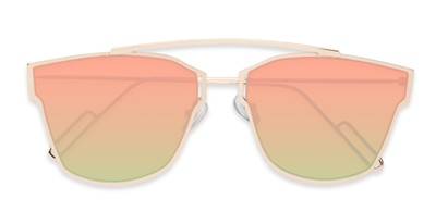 Folded of Octavia #6345 in Gold Frame with Pink/Green Mirrored Lenses
