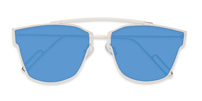 Folded of Octavia #6345 in Silver Frame with Blue Mirrored Lenses