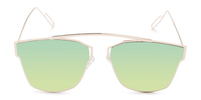 Front of Octavia #6345 in Gold Frame with Green Mirrored Lenses