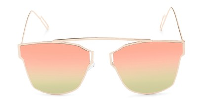 Front of Octavia #6345 in Gold Frame with Pink/Green Mirrored Lenses