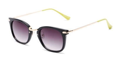 Angle of Olive #5031 in Black Frame with Smoke Lenses, Women's Square Sunglasses