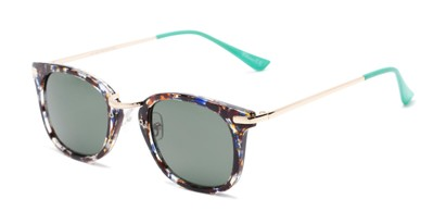 Angle of Olive #5031 in Blue Tortoise Frame with Green Lenses, Women's Square Sunglasses