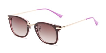 Angle of Olive #5031 in Brown Frame with Amber Lenses, Women's Square Sunglasses