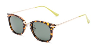 Angle of Olive #5031 in Brown Tortoise Frame with Green Lenses, Women's Square Sunglasses