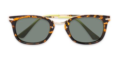 Folded of Olive #5031 in Brown Tortoise Frame with Green Lenses