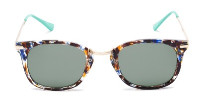 Front of Olive #5031 in Blue Tortoise Frame with Green Lenses