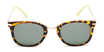 Front of Olive #5031 in Brown Tortoise Frame with Green Lenses
