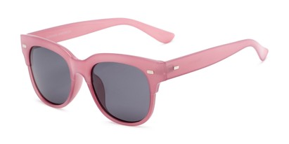 Angle of Ophelia #2033 in Clear Pink Frame with Grey Lenses, Women's Cat Eye Sunglasses