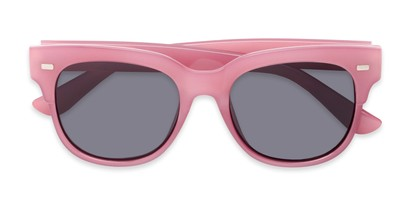 Folded of Ophelia #2033 in Clear Pink Frame with Grey Lenses
