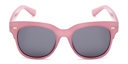 Front of Ophelia in Clear Pink Frame with Grey Lenses