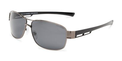 Angle of Ottawa #8137 in Glossy Grey Frame with Smoke Lenses, Men's Aviator Sunglasses