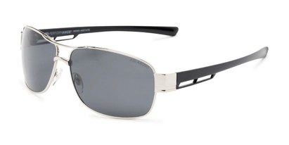 Angle of Ottawa #8137 in Glossy Silver Frame with Smoke Lenses, Men's Aviator Sunglasses
