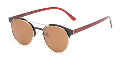 Angle of Pacer #1436 in Brown Frame with Amber Lenses, Women's and Men's Round Sunglasses