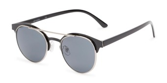 Angle of Pacer #1436 in Black Frame with Grey Lenses, Women's and Men's Round Sunglasses