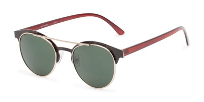 Angle of Pacer #1436 in Black/Brown Frame with Green Lenses, Women's and Men's Round Sunglasses