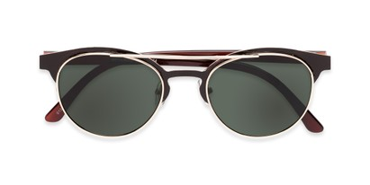Folded of Pacer #1436 in Black/Brown Frame with Green Lenses