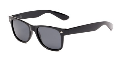 Angle of Pacific #3009 in Black Frame with Smoke Lenses, Women's and Men's Retro Square Sunglasses