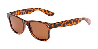 Angle of Pacific #3009 in Tortoise Frame with Amber Lenses, Women's and Men's Retro Square Sunglasses