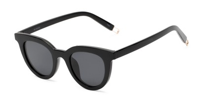 Angle of Paige #1624 in Black Frame with Grey Lenses, Women's Cat Eye Sunglasses