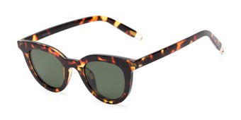 Angle of Paige #1624 in Tortoise Frame with Green Lenses, Women's Cat Eye Sunglasses